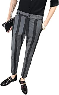 Howely Men Business Slim Pockets Fashion Stripe Casual Leisure Dress Pant