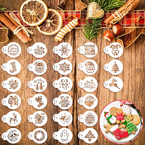 30 Pieces Christmas Cookie Stencils Xmas Cookie Template Fondant Cupcake Stencil Set Decorative Stencils Cake Tool