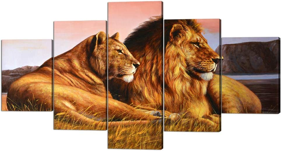 Modern Stretched and New popularity Kansas City Mall Framed Lioness Picture Canvas Lion