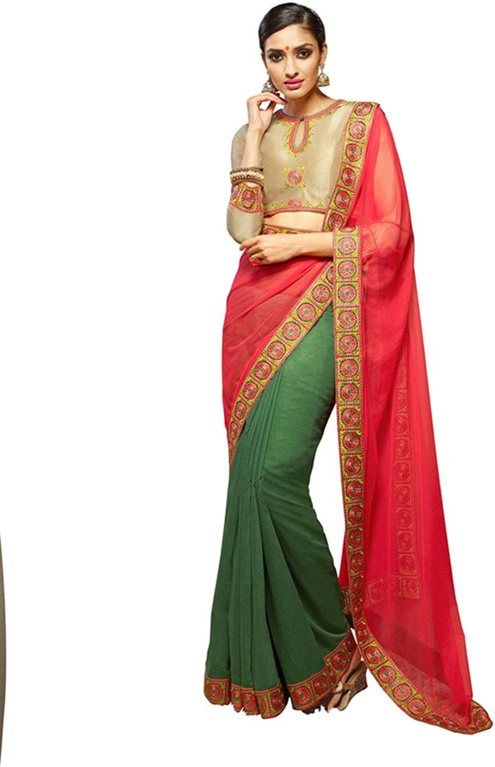 DesiButik's Alluring Green And Peach Viscose Saree