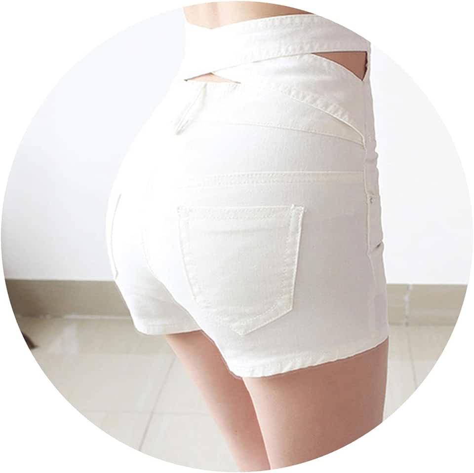 LIAOYLY Button White Denim Shorts Women Fashion Casual Slim Sexy Plus Size High Waist Women,