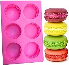 BUSOHA 6-Cavity 3D Macaroon Silicone Mold for Fondant, Macaron Hamburger Baking Molds, Candle Mold, Muffin Molds, Cake/Cupcake Decorating, Chocolate, Candy, Polymer Clay, Mini Soap, Bath Bomb