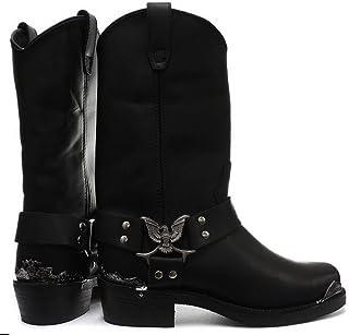 Grinders Bottes Boots Homme Cuir véritable Noir Punk Rock Goth Boucle et Bout en métal