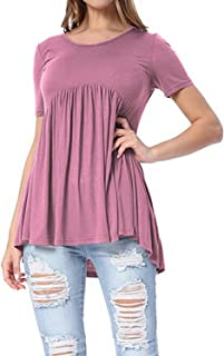 ZJFZML Women's Round Neck Short Sleeve High Low Hem Pleated Casual Tunic Shirts