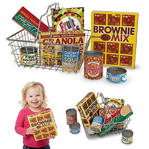 Melissa & Doug Grocery Basket with Play Food