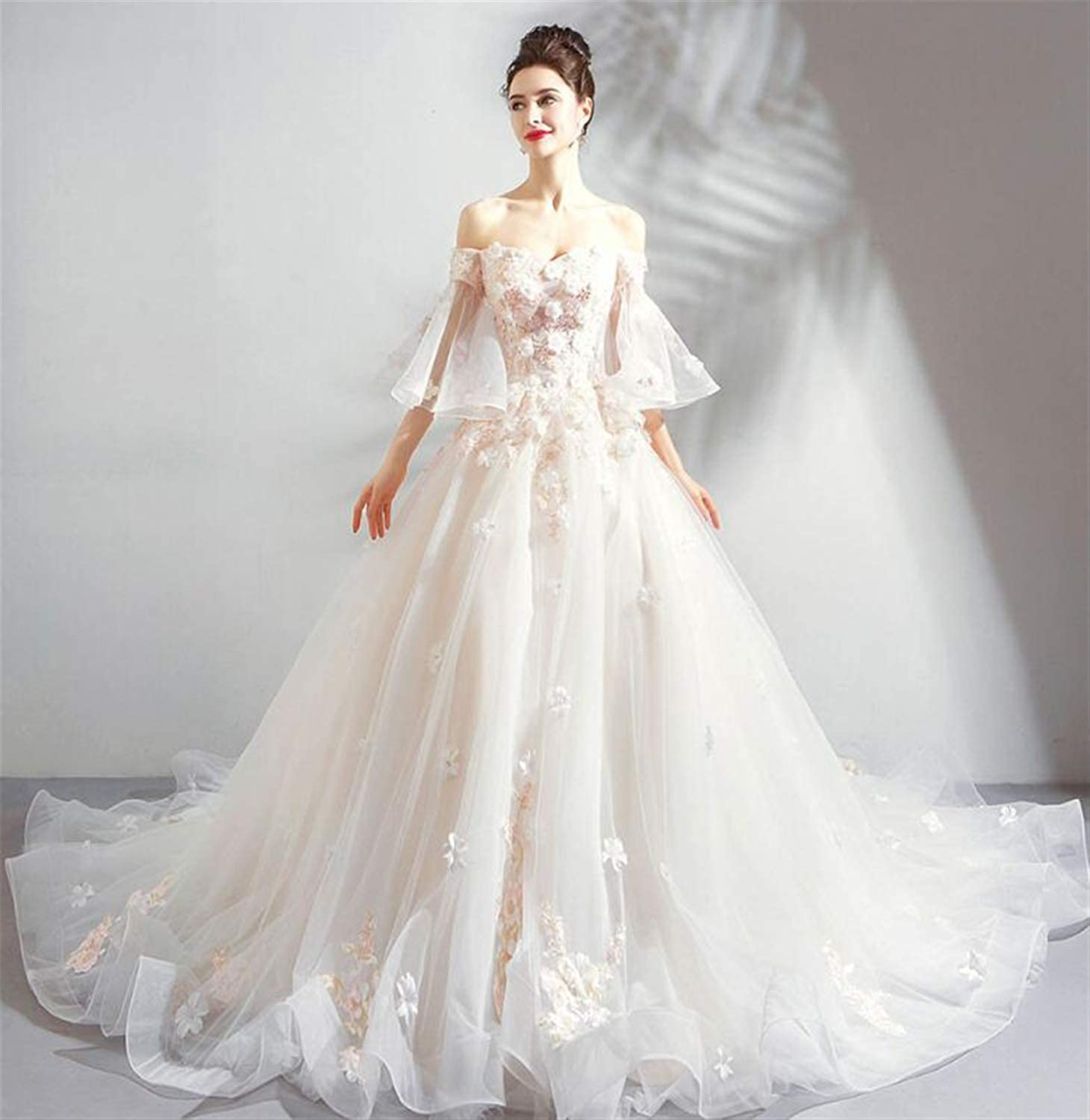 Wedding Dress,Elegant Ladies Strapless Tulle Embroidery Bride Wedding Dress Long Tail Party Dress White (Pink, Champagne)