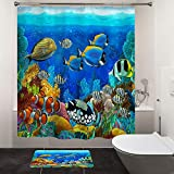 HIYOO Bathroom Underwater World Shower Curtain with Hooks, Tropical Ocean Sea Seabed Coral Reef Cartoon Design Bathtub Curtain Sets, Waterproof Fabric and No Need Liner - Colorful Fish 72' W x 72' L
