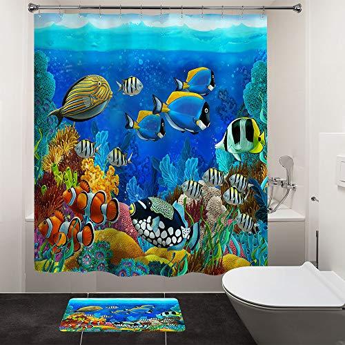 HIYOO kids Underwater Cartoon Fish Shower Curtain Sets, Tropical Ocean Sea Seabed Coral Reef Bathtub Shower Curtain with Hooks, Colorful Shower Curtain for bathroom, Blue Waterproof Fabric 72'W x 72'L