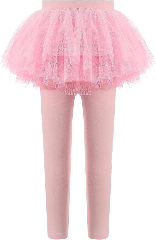 Agoky Kids Girls Stretchy Waistband Layered Mesh Tutu Leggings Pantskirt Set Fall Casual Ballet Fitness Dancewear