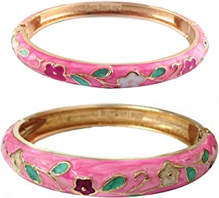 UJOY Bangles Bracelets Gorgeous Enameled Floral Cloisonne Gold Plated Metal Indian Jewelry Sets Box for Womens Gift 55A35