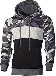 Mens Camo Hoodie Sweatshirt, Mens Cotton Blend Splice Camouflage Military Combat Hooded Pullover Tops