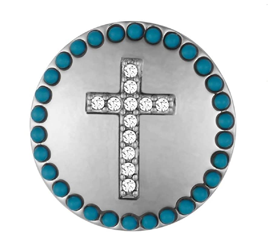 Ginger Snaps Cross with Turquoise Surround SN03-31 (Standard Size) Interchangeable Jewelry Accessories