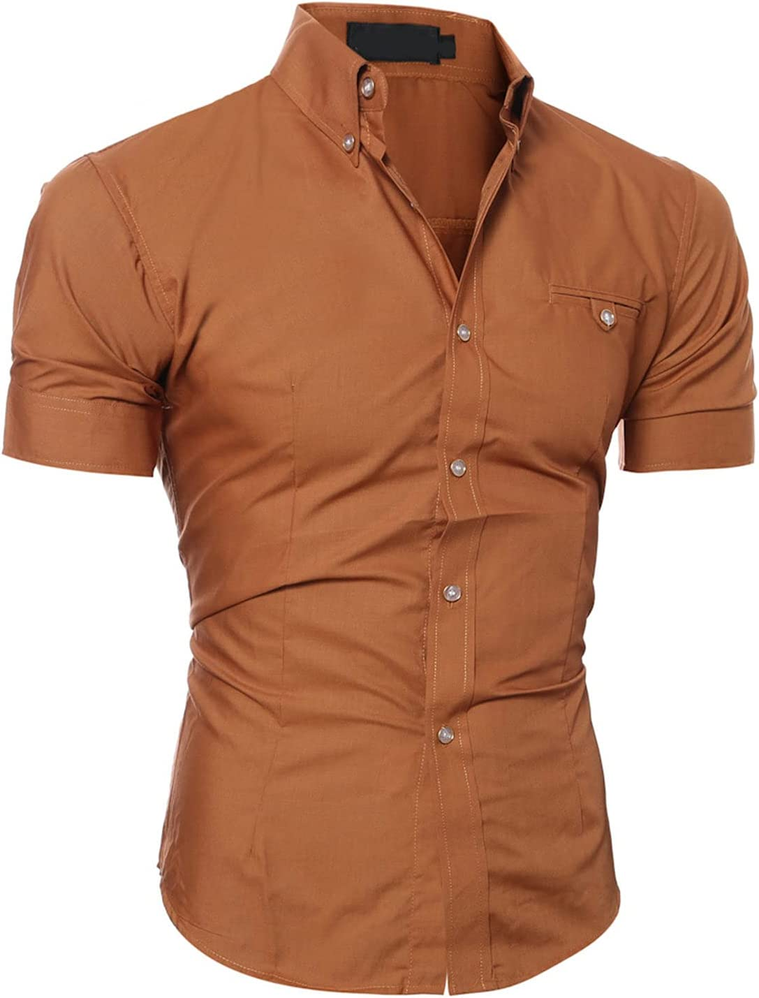 Men's Slim Short Sleeve Dress Shirts Casual Business Cotton Button Down Shirt Regular Fit Solid Color Shirt with Pocket (Brown,XX-Large)