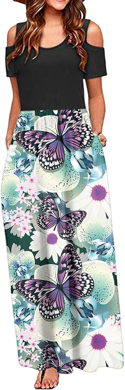 Jaqqra Summer Dress for Women Floral Print O Neck Cold Shoulder Pockets Long Maxi Dress Casual Short Sleeve Sundress