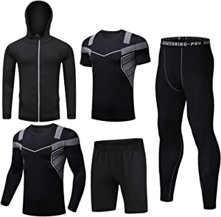 Men's 5-Piece Sports Suit Quick-Drying Running Suit Tights Running Suit Compression Shirt Gym Training Running Sportswear ...