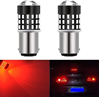 KaTur 1157 BAY15D 1016 1034 7528 Led Light Bulb High Power 3014 54 Chipsets Super Bright 650 Lumens Replace for Turn Signal Back Up Reverse Brake Tail Stop Parking RV Lights,Brilliant Red(Pack of 2)