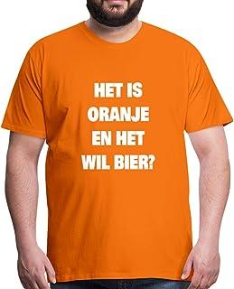 Spreadshirt Het Is Oranje En Het Will Bier Grappige Koningsdag Mannen Premium T-shirt