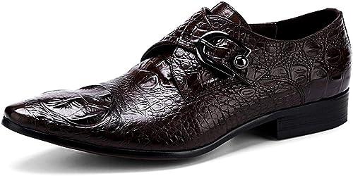 LXYIUN Chaussures en Cuir Britanniques,Rétro Affaires Vêtements de cérémonie Motif Crocodile Chaussures en Cuir Couleur café,37