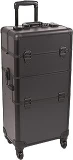 Sunrise Belli 2-In-1 Rolling Makeup Case Professional Nail Travel Organizer Box, Black Matte, 21 Pound