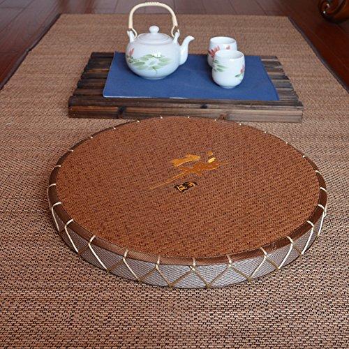 BEIGOO Rond Fait Main Coussins De Sol,Respirant Pouf pour Yoga Tatami Terrasses Coin De Lecture-A Diamètre:20 Pouces
