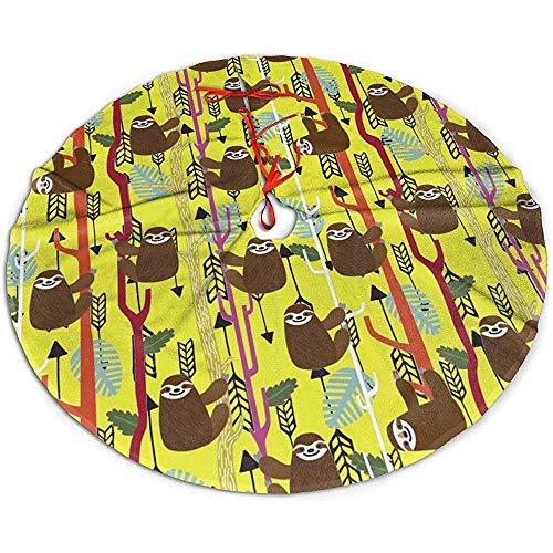 Myrdora Árbol de Navidad Falda Pereza Dibujos Animados Divertido Tiro con Arco Fiesta de Navidad Decoración navideña
