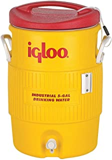 Igloo Water Cooler 5 Gallon Yellow / Red Drip Resistant Push Button Spigot /Keeper Cord Affixes Lid To Cooler / Reinforced Handles 451