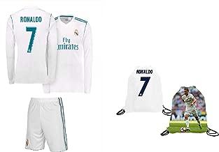Real Madrid Ronaldo Kids #7 Soccer Kit Jersey + Shorts + Bag Gift KIT Youth Sizes