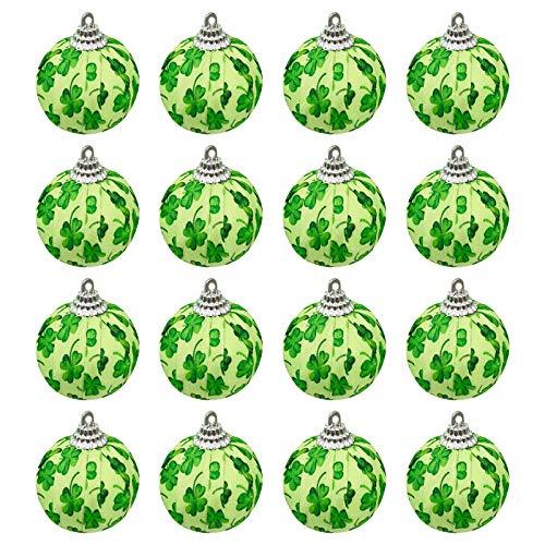 Moent Bola de tela para fiestas de San Patricio, trbol de cuatro hojas irlands, decoracin de trbol de cuatro hojas, adornos de fiesta de primavera de ao nuevo (verde, 12 unidades)