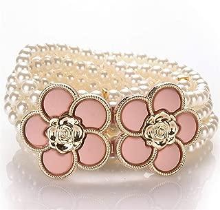 LUKEEXIN Women's Pearl Beaded Elastic Waist Belt Elegant Elastic Waistband Dress Chain (Color : Pink)