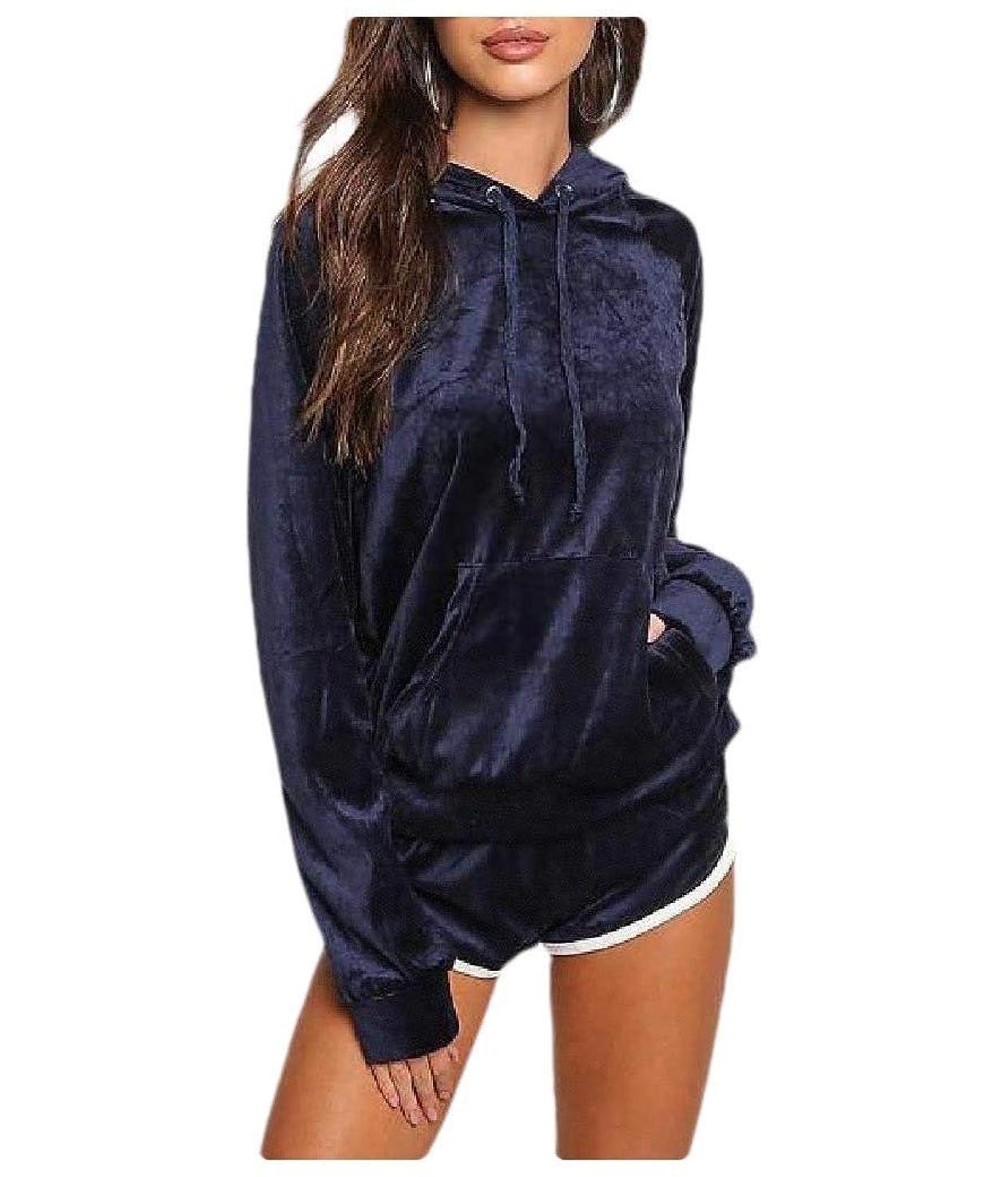補充海上見物人Romancly Womens Casual Hooded Solid Colored Pocketed Sweatshirts Coat Pants