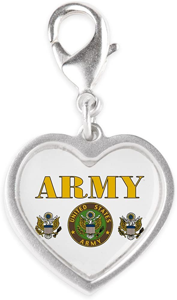 Recommended Max 85% OFF Royal Lion Silver Heart Charm United Military Army States Sea US
