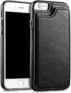 حافظة FLOVEME الفاخر بتصميم محفظة لهاتف ايفون 7 بلس وايفون 8 بلس مزود بحامل بطاقات من الجلد ومسند قلاب خلفي -