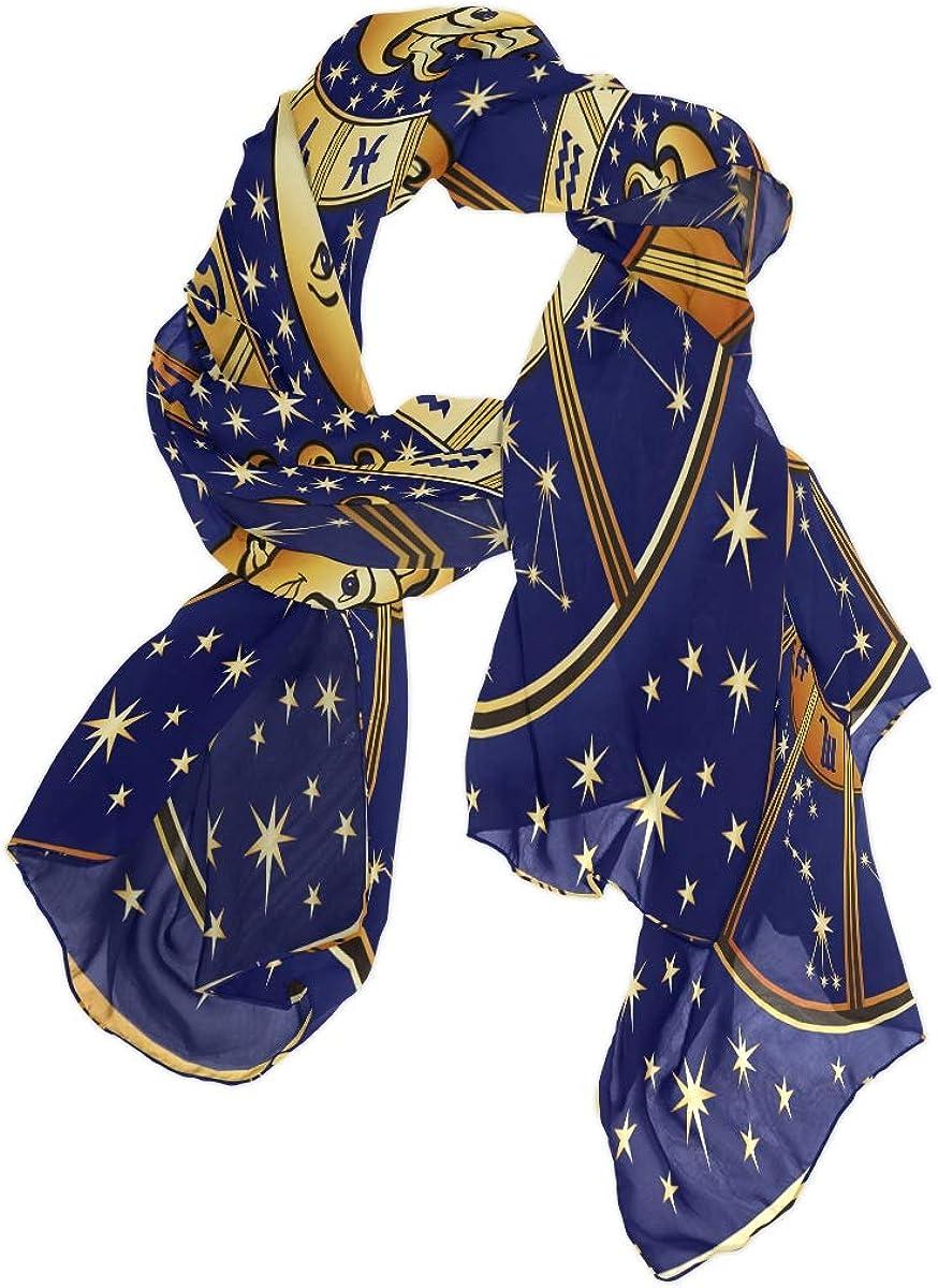 Scarfs for Women Constellation Sun Moon Stars Design Silk Scarfs Fashion Hair Head Lightweight Shawl Wraps Large Scarves Ladies Girls Gifts for Spring Summer