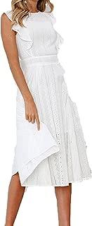 Summer A-line Lace Dress Boho Beach Women Midi Dresses Sweet Girl Ruffles Sleeveless Sundress