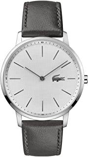 Lacoste Relógio masculino Moon de quartzo de aço inoxidável com pulseira de couro de bezerro, cinza, 20 (modelo: 2011056)
