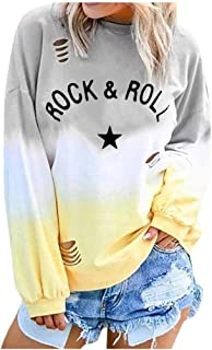 Casual Pullover for Women,2019 Autumn Winter Ladies Crewneck Stylish Gradual Printed Soft Comfort Long Sleeves