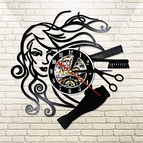 BFMBCHDJ Modern Barbershop Vinyl Record LED Reloj de luz de Pared Reloj de Pared Colgante de peluquería para Peinado Salón de Belleza Sin LED 12 Pulgadas