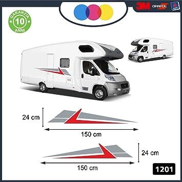 Pegatinas decorativas para ambos laterales – - – para caravanas, furgonetas y camionetas – - – cód. 1201 Arancione-Grigio