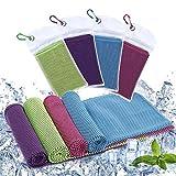 Diealles Shine 4 Pack Toalla de Enfriamiento, 90 x 30 cm Toalla Refrescante para Gimnasio, Secado Rápido Cooling Towel para Golf Natación Yoga Fútbol Running