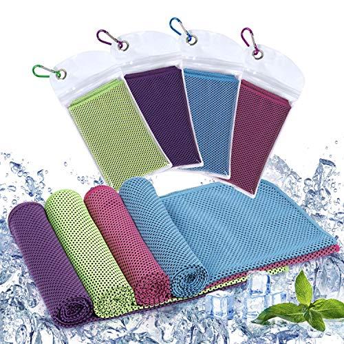Diealles Shine 4 Pack Toalla de Enfriamiento, 90 x 30 cm Toalla Refrescante para Gimnasio, Secado...