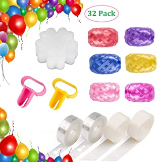 BTSD-home Balloon Decorating Strip Kit for Arch Garland 32.8Ft Balloon Tape Strip, 2 Pcs Tying Tool, 200 Dot Glue, 20 Flower Clip ,180 Ft Ribbon (32 Pack)