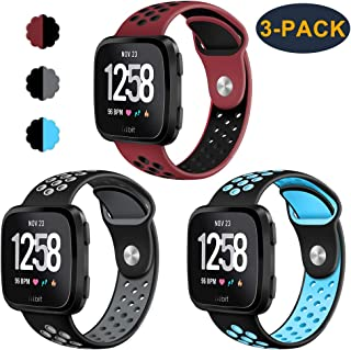 CAVN 3-Pack Compatible Fitbit Versa Bands for Men Women, Sweat Resistant Replacement Accessory Strap Bracelet Compatible Fitbit Versa Smartwtach