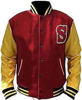 Smallville Clark Kent Crows Varsity Letterman Fleece Jacket with Leather Sleeves