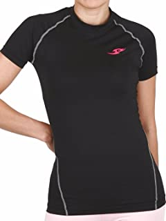 JustOneStyle New 098 Womens Skin Tight Compression Baselayer T Shirt Short Sleeve Black