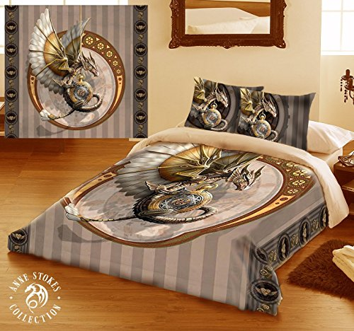 STEAMPUNK DRAGON Duvet & Pillows Case Covers Set for Kingsize Bed Artwork By Anne Stokes
