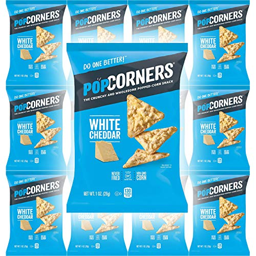 Review Popcorners White Cheddar Feel Good, Gluten-Free Snack, 1oz Bag (Pack of 12, Total of 12 Oz)
