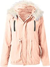 Kulywon Women Fashion Winter Coat Solid Warm Hooded Jacket Outwear with Pocket and Zipper