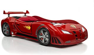 Super Car Bed Racing Frame Infiniti Model Electric Start Remote and Sound Cool Spoiler, Kids Car Twin Bed, Race Car Bed, Engine Sound, LED Headlights, Hot Wheels, with Free Mattress, RED