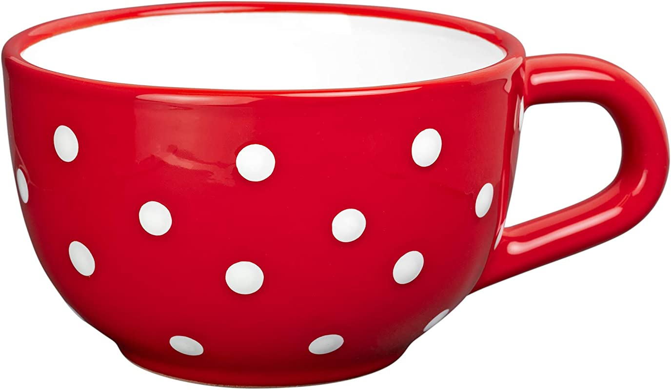 City To Cottage Handmade Ceramic Designer Red And White Polka Dot Cup Unique Extra Large 17 5oz 500ml Pottery Cappuccino Coffee Tea Soup Mug Housewarming Gift For Tea Lovers