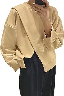 [在庫限り][エアバイ] アシンメトリー カットソー フロント 切替 デザイン カット スウェット 長袖 S~L